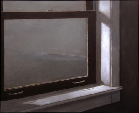 """Shoreline from the Boathouse Window"", 2009, oil on canvas, 36x44"""