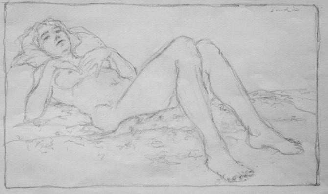 'Sally A', 2010, pencil, 7 x 11 inches