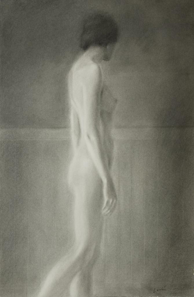 "'Walking Nude', charcoal, 24 x 14"""