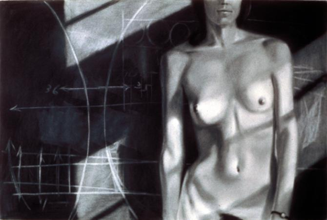 """""""Model Standing Before a Blackboard"""", 1974, charcoal on paper, 24 x 36""""; private collection, Seattle"""