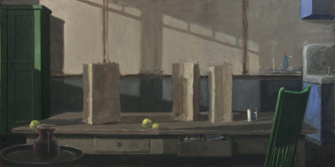 """Denny & Gretchen's Kitchen"", 2015, oil on canvas, 36 x 72"""