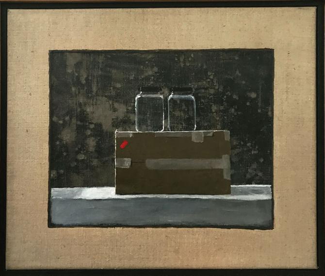 """Box and Jars"", 2019, acrylic on linen, 12"" x 14"""