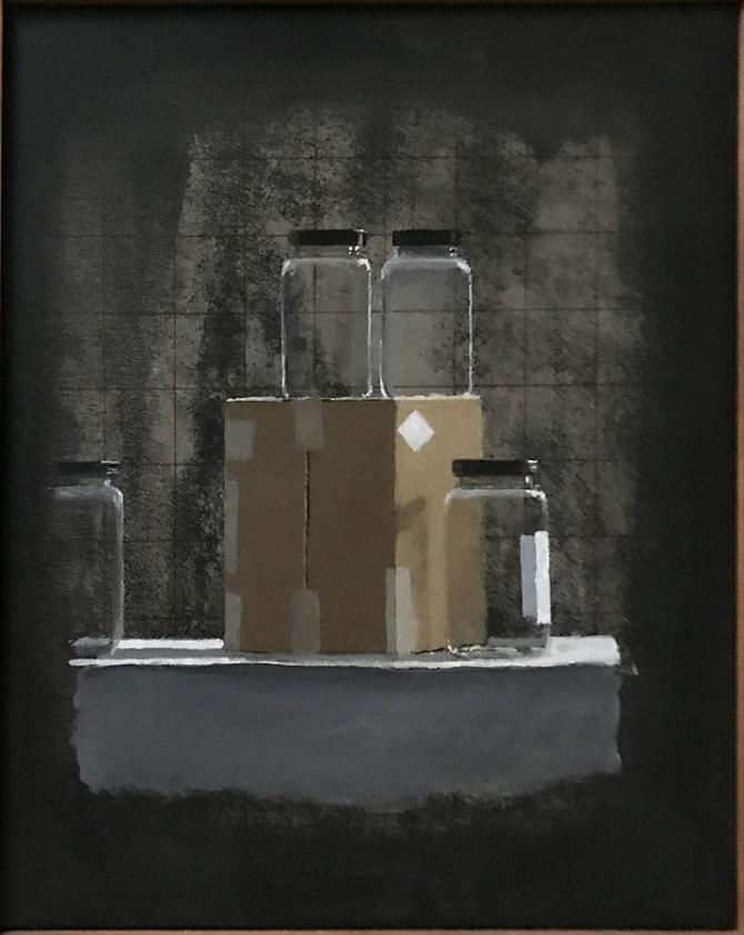 """Box and Jars with Grid"", 2019, acrylic on canvas, 16"" x 14"""