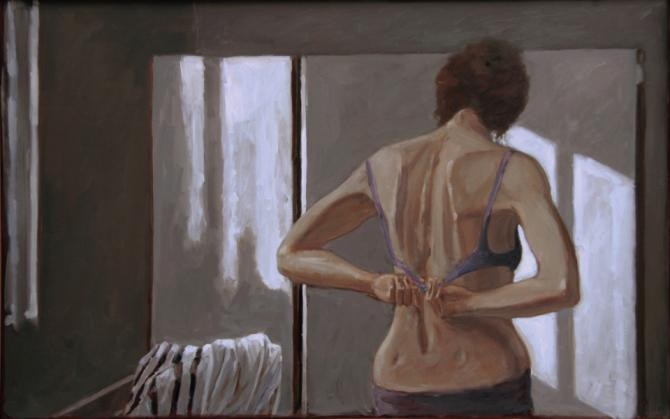 """Dressing"", 2017, oil on wood panel, 28 x 44"""