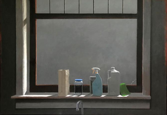 """""""Kitchen Window at Night"""", 2019, oil on canvas, 46"""" x 66"""""""