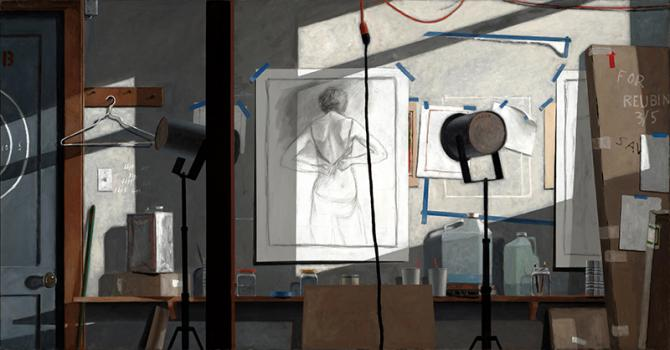 """My Studio Wall"", 2019, oil on canvas, 46"" x 88"""