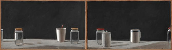 """Things Left Around"", 2019, oil on canvas, 14"" x 48"""