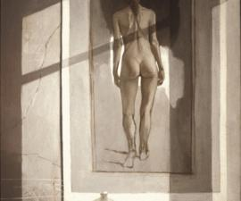 'Studio Interior: Nude Walking', oil on canvas, 1993, 72x38'; private collection, Miami Fl