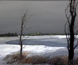 """Trees, Frozen Lake"", 2008, oil on wood panel, 24 x 36"""