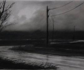 'Rural Road at Night', 2009, charcoal, 14 x 22 inches