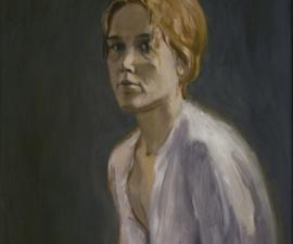 """Portrait of Women in a White Dress"", 1970's, oil on paper, 24.5 x 17.5"""