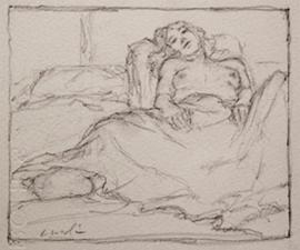 """Sally A. In Bed"", 2010, pencil, 4.25 X 5.25"""