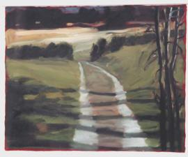 'Farm Road I', 2007, oil on gessoed paper, 10 X 13 inches (image area)