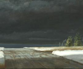 'First Snow: On Entering Arizona from Utah', 2006, oil on canvas, 18x44', Private Collection