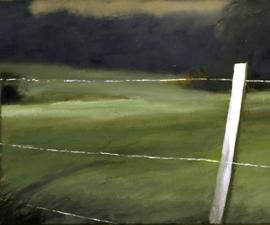 'Fence and Field', 2005, oil on canvas, 14x28', private collection, Los Angles
