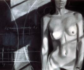 """Model Standing Before a Blackboard"", 1974, charcoal on paper, 24 x 36""; private collection, Seattle"