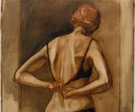 """Model from the Back"", 2002, oil on paper, 28 x 28"""