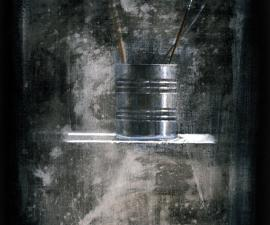"""Cans with Brushes"", 1997, acrylic on canvas, 18 x 14"""