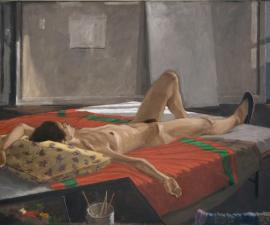 """In the Studio- Isabella Resting"", 1975 (Subsequently reworked by the artist), oil on canvas, 48.75 x 70"""