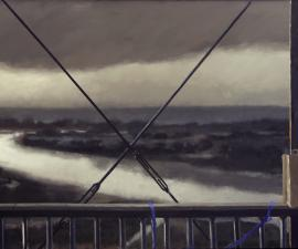 """Trestle, Evening Rain, Two Dogs"", 2015, oil on canvas, 36 x 66"""